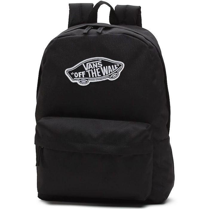plecak vans czarny z białym napisem